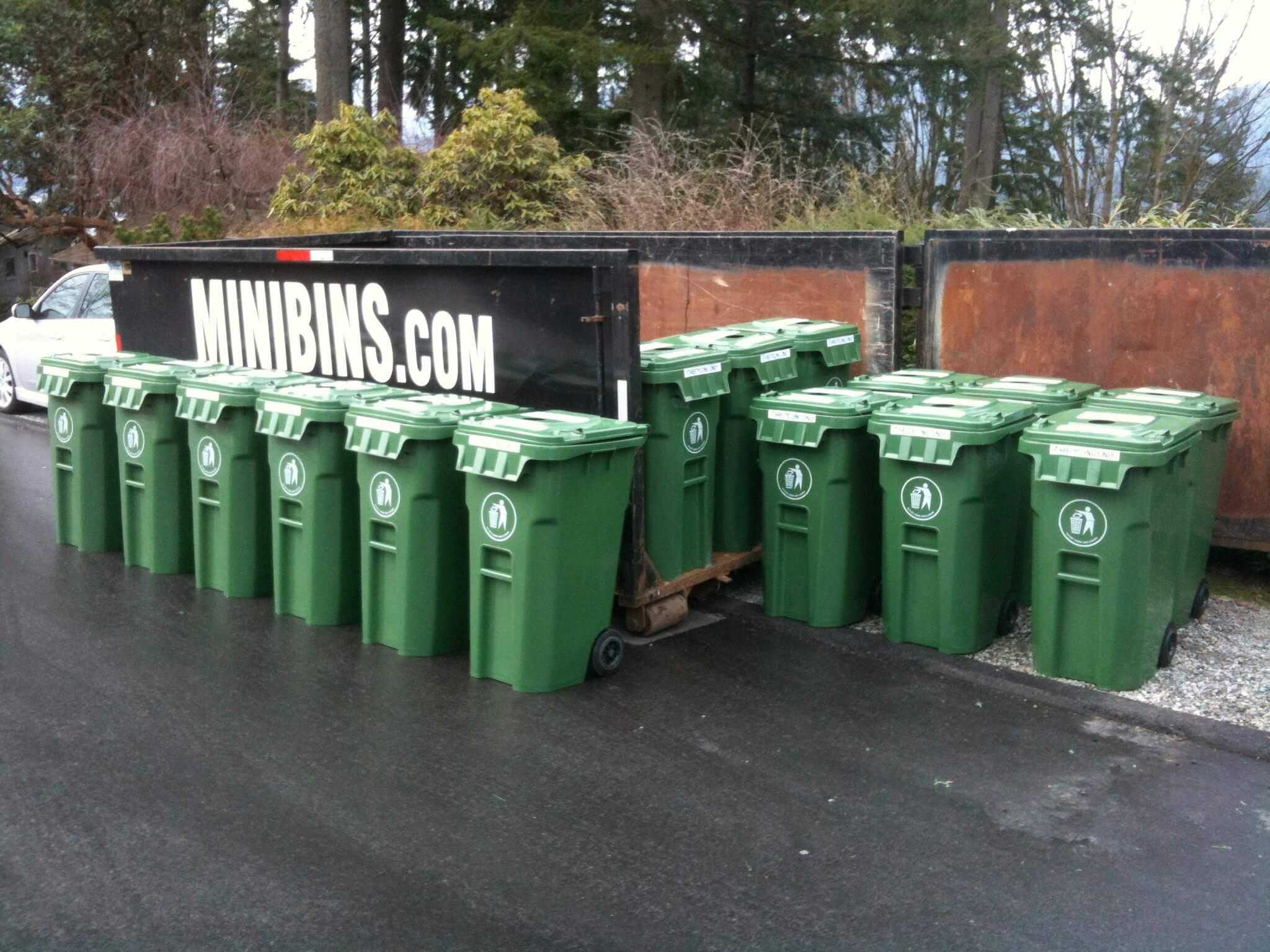 Minibins disposal recycling bin rental