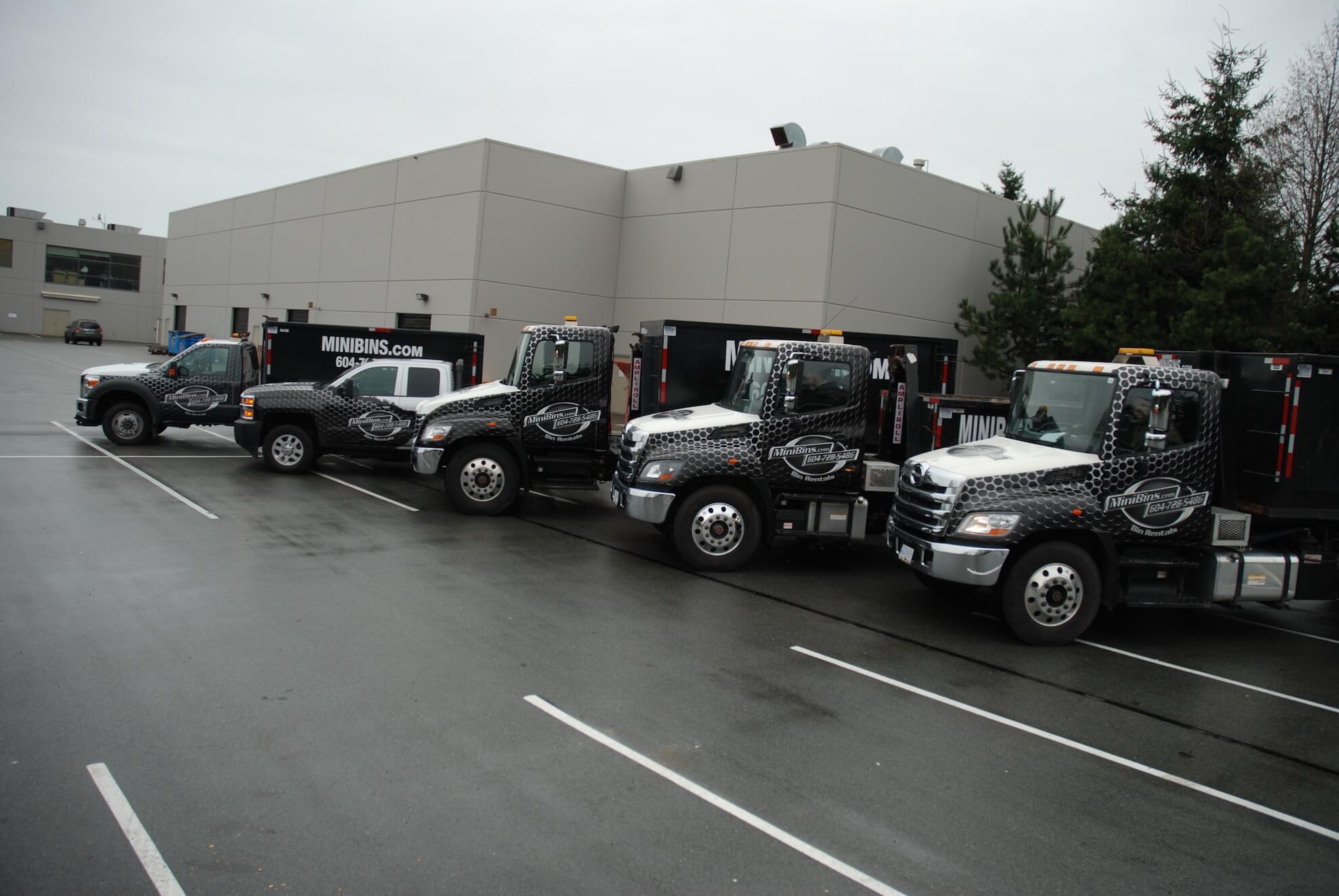garbage bin rentals Mini Bins trucks